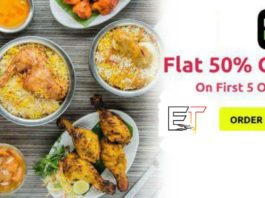 Uber Eats Offer For New User's - Get 50% Off On First Five Orders And Discount Upto Rs.120